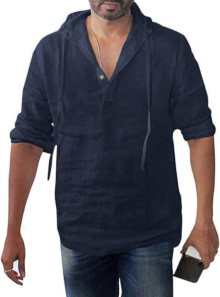 LEIYAN Mens Casual Cotton Linen Hooded Henley Shirts Summer Long Sleeve Drawstring Slim Fit Workout Jogging T-Shirts