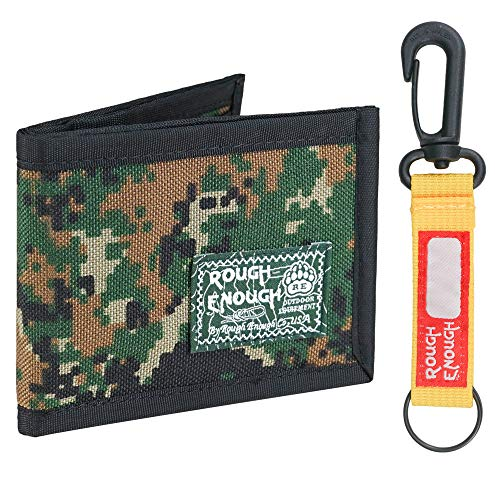 Rough Enough Small Slim Kids Wallets for Teen Boys Card Wallet in Bifold Camo Army Christmas Gifts for Kids Teenage Boys Mens Front Pocket Wallet Coin Purse with Keychain for Sport School Outdoor