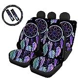 Hugding Violetter Traumfänger-Autositzbezug, vollständiges 4er-Set mit 2 Gurtpolstern und...