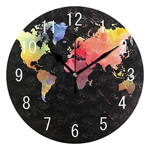 Use7 Wanduhr, rund, Acryl, bunt, mit Weltkarte, nicht tickend, geräuschlose Uhr, Kunst für Wohnzimmer, Küche, Schlafzimmer