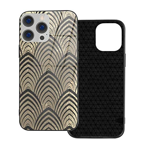 MEUYGOFLZ Compatible con iPhone 12 Pro Max, carcasa de cuerpo completo, carcasa de cristal TPU suave para iPhone 12 Pro Max 6.7 pulgadas, Art Deco negro Champaigne Gold Scales Seashells