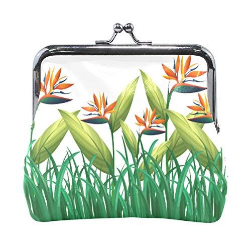 Geldbörse, Motiv: Viele Paradiesvogel, Blumen im Busch, Vintage-Stil, modisch, PU-Leder, Geldkartenhalter für Frauen, Mädchen, Teenager, Kinder
