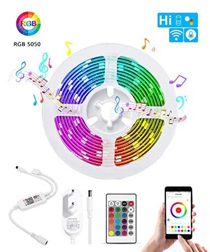 BIFADA WiFi LED Streifen, Wlan led Musikstreifen,Kabellose Smartphone APP gesteuert Sync mit Musik, 5M RGB Lichtleiste, led Lichtstreifen kompatibel mit Alexa, Google Home, IFTTT, flexible Beleuchtung