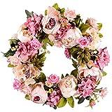 YISUNF flores artificiales La flor artificial de la guirnalda de la guirnalda del Peony - 16inch Puerta guirnalda de la primavera aureola alrededor de la guirnalda de la puerta principal, de boda, Dec