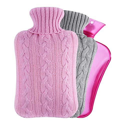 Segorts Wärmflasche mit Bezug 2 Pack Strickabdeckung 2 Liter Warmwasser Tasche Groß Bettflasche Kuschel für Nacken Schulter Bauch Wärme Weihnachten Geschenk für Freundin Mutter Vater Rosa 33x 20cm