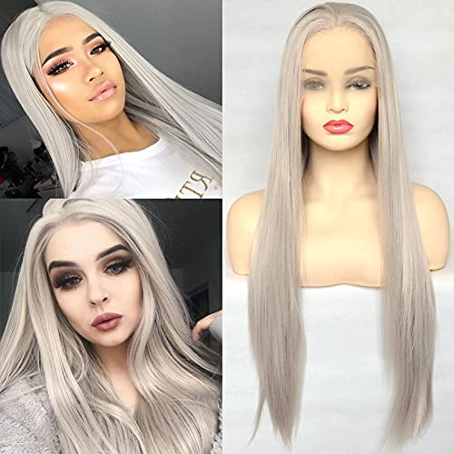 BLUPLE Silver Blonde Straight Lace Front Wigs Trendy Long Half Hand Tied Wig for Women Heat Resistant Synthetic Hair 22 Inches