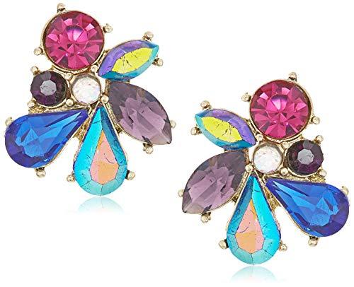 Betsey Johnson Stone Cluster Button Earrings