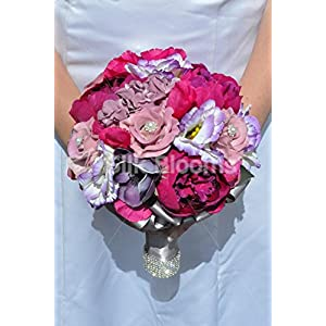 Gorgeous Artificial Silk Pink Peony, Lisianthus and Rose Bridesmaid Bouquet with Anemones