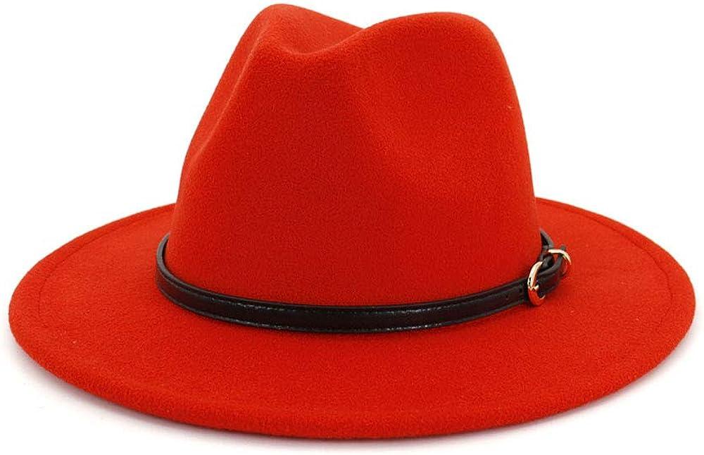 TANGADYL Women Girls Wool Felt Wide Brim Fedora Hats with Belt Buckle Adjustable