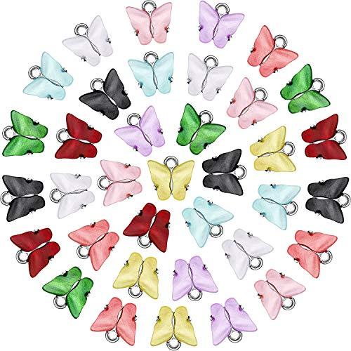 36 Piezas Dijes de Mariposas Colgante Mariposa Acrílico Plata Encantos Coloridos en Forma de Mariposa para Pendientes Pulseras Collares Fabricación Colgantes Joyería DIY