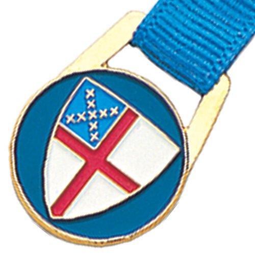 970 Episcopal Shield Bookmark on Blue Grosgrain Ribbon