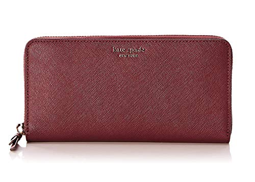 Kate Spade New York Cameron Saffiano Leather Zip Around Large Continental Wallet Cherrywood (Cherrywood)