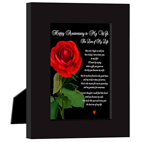 Happy Anniversary To My Wife, The Love of My Life Love Poem Card in Black Frame