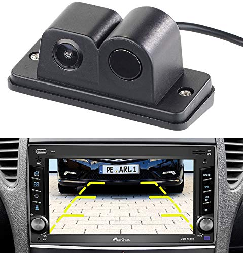 Lescars Kfz Kamera: Farb-Rückfahrkamera und Einparkhilfe, 90°-Bildwinkel, Abstandswarner (Parksensor)