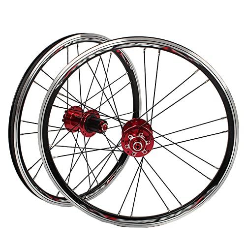 A100 451 Juego De Ruedas De Bicicleta Carretera Plegable De 20 Pulgadas con Buje Ultraligero Freno De Disco/V (Color : B, Talla : 100/135 (Disc Brake))