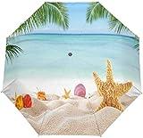 AOTISO Tropical Beach Palm Tree Tragbarer winddichter Regenschutz Sonnenschutz 3 Falten Auto Open...