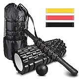 4-en-1 Foam Roller Kit , Rodillo Espuma, Rodillo Masaje, Bola de Masaje, Bandas Elasticas ...