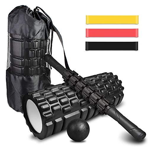 4-in-1 Faszienrolle Set: Foam Roller, Massageroller Stick, Fitnessband [3er Set], Faszienball mit Tragebeutel, zum Faszien Training und Verbesserung des Bindegewebes, Yoga, Pilate, Muskeln Entspannen