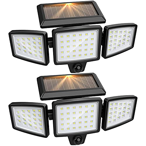 Solar Lights Outdoor, Solar Powered Led Flood Security Lights with Motion Sensor, Wireless Spot Flood Outside Wall Light with 72 LED and IP65 Waterproof for Garage, Garden, Porch, Yard, Patio, 2 Packs