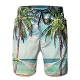Love girl Shorts de Playa de Secado rápido para Hombres Hamaca con Palmeras Forro de Malla Bañador de Surf Troncos con Bolsillos, Talla XL