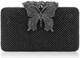 Dexmay Rhinestone Crystal Clutch Purse Butterfly Clasp Women Evening Bag for Formal Party Pewter