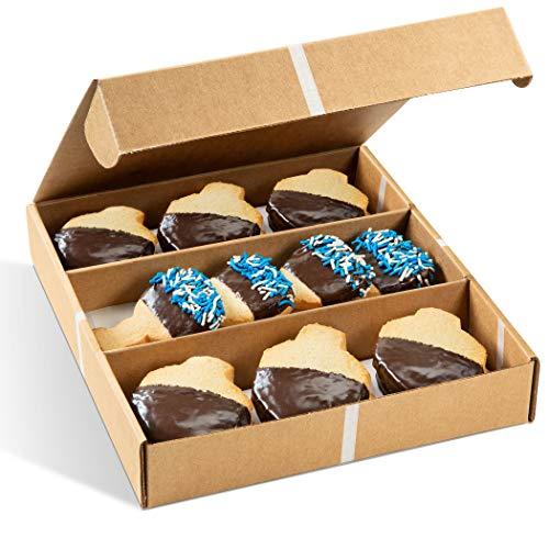 Stern's Bakery Traditional Hanukkah Menorah & Dreidel Shortbread Cookie Gift Basket, 16 Gourmet Cookies Individually Wrapped, Gift for families Men &Women-Chocolate Coated Cookies, Hanukkah Gift Idea!