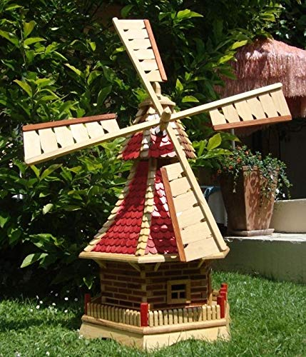 BTV Windmühle,Windmühle für Garten, mit Holzschindel - Dach NEU mit kugelgelagert, Solarbeleuchtung=Windmühlen-Zubehör/Angebot ohne Solar, extra 1 m groß rot lasiert hell weinrot + Natur
