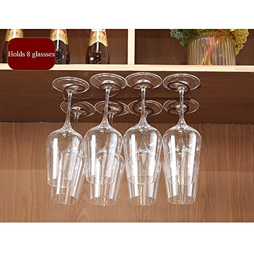 Wijnglashouder, roestvrij, houder voor wijnglazen onder de kast, houder voor glazen met standaard met ringen in G-vorm, opslag voor wijnglazen om op te hangen, houder voor wijnglas voor bar thuis A+ L34xW18xH3.5CM Brons