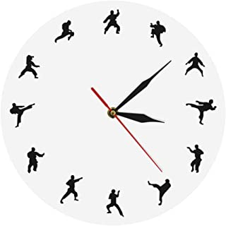 WANGXJ Taekwondo Karate Wall Clock Martial Arts Karate Club Modern Wall Decor Fighting Sports Kung Fu Exclusive Wall Clock Watch 30X30Cm