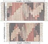 SHACOS 2er Set Teppich Baumwolle Waschbar Gewebt Teppich Vintage Grau Baumwollteppich Flur Teppich für Wohnzimmer Eingang Badezimmer 60x90cm+60x130cm - 6
