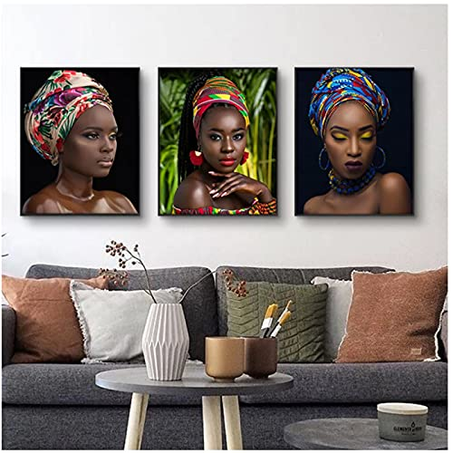 Turbante africano moderno mujer Cuadros lienzo pintura carteles e impresiones escandinavo cuadro de arte de pared para decoración de sala de estar