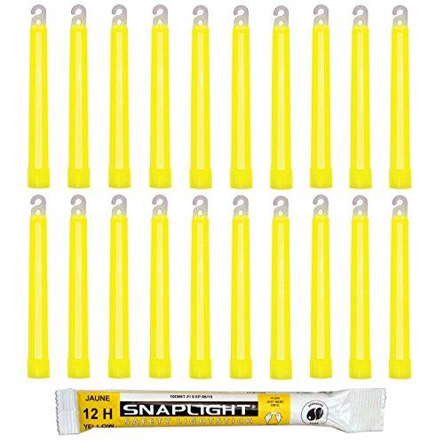 Cyalume SnapLight Knicklichter in Gelb (20-er Pack) - 15 cm Glow Sticks mit Haken am Ende - ultra helle Light Sticks mit einer Leuchtdauer von 12 Stunden