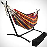 OceanTailer Brazilian Double Hammock Bed with Stand for 2 Person, Portable Hammock Bed for Indoor or Outdoor Use with Carrying Pouch in Tropical Color