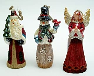 Christmas Statue Ornaments Santa Claus Snowman Angel Figurine Indoor Outdoor Landscaping Decorative Sculpture Home Office Tabletop Xmas Tree Decor Accents (Set of 3)