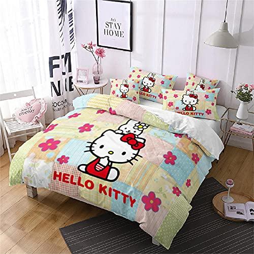 Funda Edredon 200 X 200 Cm Funda Nordica Hello Kitty / Dibujos Animados De Gato Poliéster Tela...