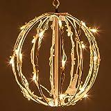 LED Light Ball – Indoor/Outdoor Christmas Light Balls, Light Spheres Outdoor/Sphere Light Fold Flat Metal Frame (8', White Frame/Warm White Lights)