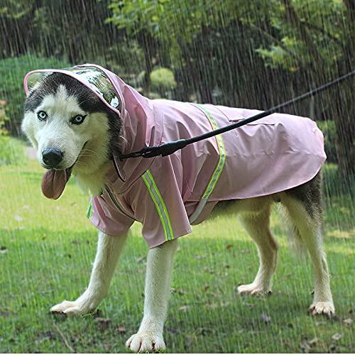 ZDSS Cappotto Impermeabile per Cani,Regolabile e Facile da Indossare,Resistente alla Pioggia/Acqua,Materiale PU,Design con Cerniera Riflettente,Tre Colori Disponibili,Poncho Antipioggia per Can