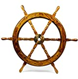 Nagina International Nautical Handcrafted Wooden Ship Wheel - Home Wall Decor (30 Inches, Natural Wood)