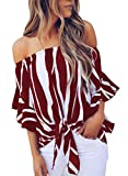 Asvivid Womens Striped Off The Shoulder Shirt Bell Short Sleeve Chiffon Blouses Elegant Tunic Juniors Holiday PartyTops XX-Large Red
