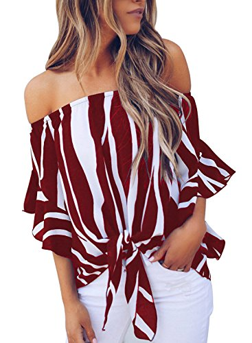 noabat Women's Off The Shoulder Blouses and Tops Bell Sleeve Wine Red Stripe Shirts Tie Knot Summer Tunic Top