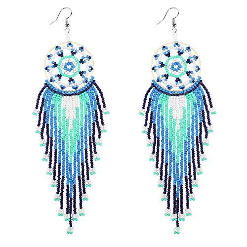 Emibele Ohrringe, Traumfänger Perlen Quaste Ohrringe Böhmisch Schmuck Accessoires für Frauen - Blau