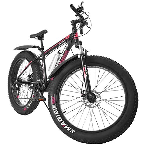 JueNi 2020 Newly 17 inch Fat Tire Mountain Bike, 21-Speed 26-inch Wheels with 4-Inch Wide Tires Disc Brake High-Tensile Aluminum Hardtail Steel Frame Anti-Slip Bikes for Adult Men Women (Red)