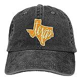REAL PEAZ Gorra de béisbol de algodón lavado, sombrero de sol clásico deportivo casual, color sólido ajustable, ligero y transpirable, contorno de estado de Texas y gorra de béisbol ajustable