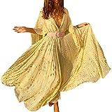 ORANDESIGNE Femmes Bohemian Dress Dames d'été De Vacances d'été Col en V Taille Haute Rétro Jupe Manches 3/4 De Plage Jaune XL