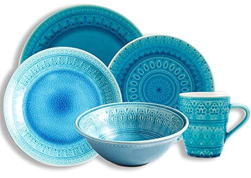 Juegos de vajilla Juego combinado de porcelana de 5 piezas con plato llano de 10,8 ', plato llano de 10', plato de postre de 7,6 ', cuenco de cereales de 7' y 400 ml