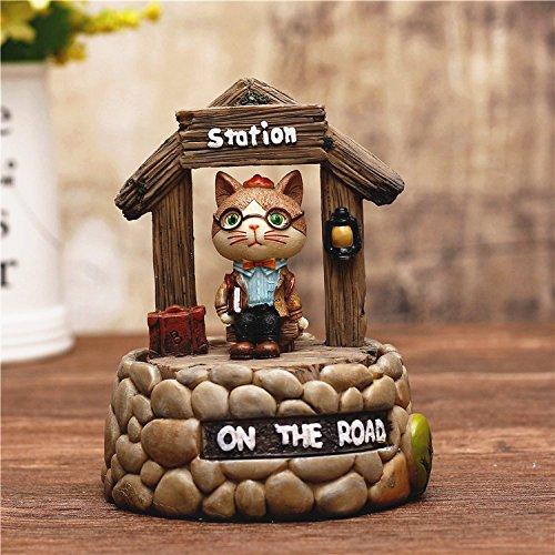 ZoraQ Juguete del Regalo del bebé Gato del Estilo de la decoración casera con la Caja de música de Las Campanas de música de los vidrios para el pequeño Regalo Creativo