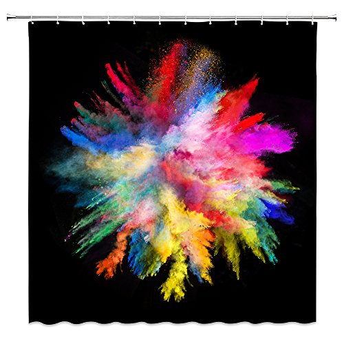 Feierman Colorful Shower Curtain Art Decor Abstract Watercolor Fabric Bathroom Curtain Decor Set with Hooks 70x70Inches