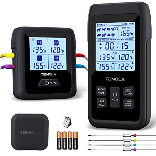 TEMOLA TM40 - Termometro da cucina con 4 sensori di temperatura, display LCD da 490 metri, per barbecue, affumicatore,...