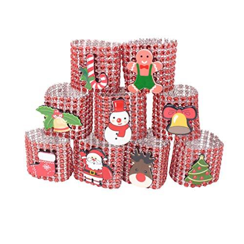 Amosfun 9pcs Navidad Anillo de Diamantes de imitación de Santa servilleta de Mesa decoración de Navidad servilletero (Rojo)