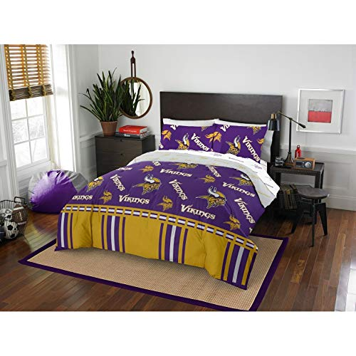 MISC 5 Piece Vikings Comforter & Sheets Set Full Queen, Football Sports Bedding for Boys Kids Bedroom Team Logo Printed Collegiate Pattern Home Decor Game Fans Gift Super Soft Cozy Quality Polyester
